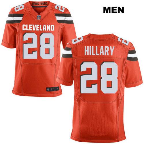 Nike Cleveland Browns #28 Darius Hillary Orange Stitched Men's NFL Elite Jersey