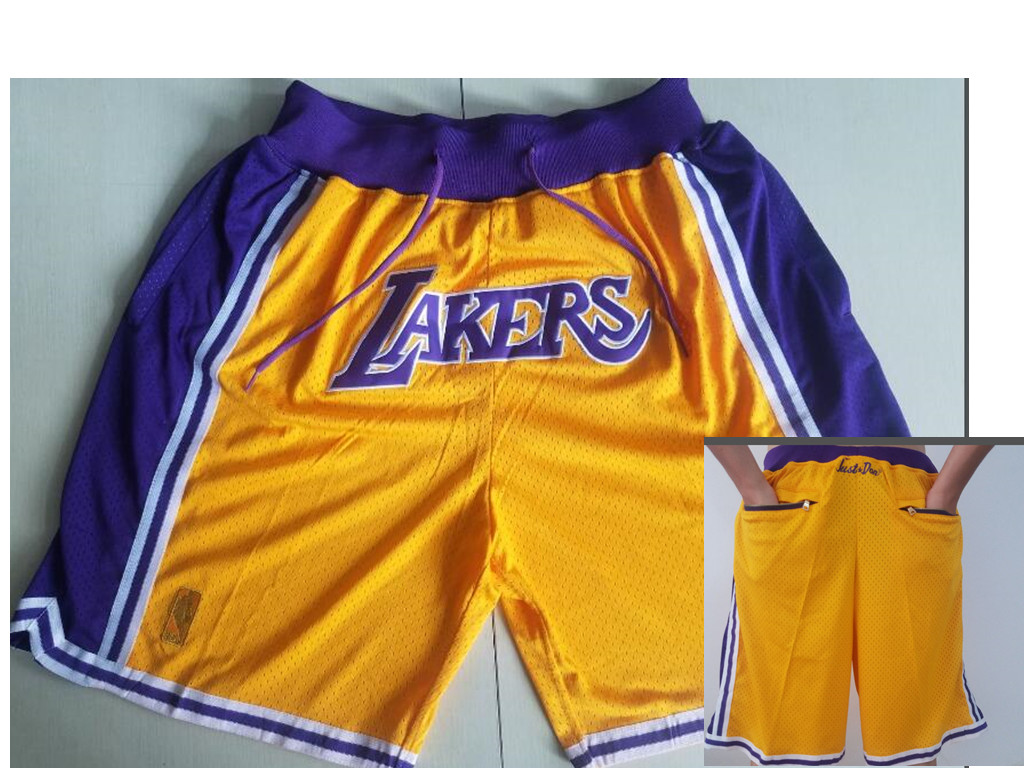 Los Angeles Lakers Yellow Nike NBA Throwback Shorts