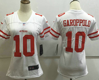 Women's San Francisco 49ers #10 Jimmy Garoppolo White 2017 Vapor Untouchable Stitched NFL Nike Limited Jersey