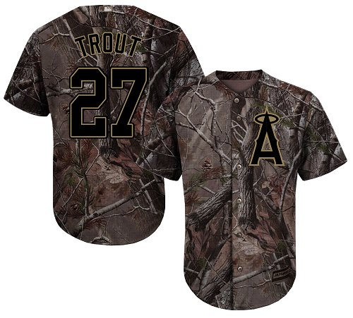 LA Angels of Anaheim #27 Mike Trout Realtree Collection Cool Base Stitched MLB Camo Jersey