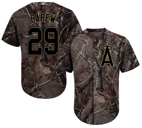 LA Angels of Anaheim #29 Rod Carew Realtree Collection Cool Base Stitched MLB Camo Jersey