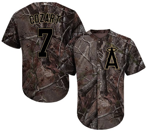 LA Angels of Anaheim #7 Zack Cozart Realtree Collection Cool Base Stitched MLB Camo Jersey
