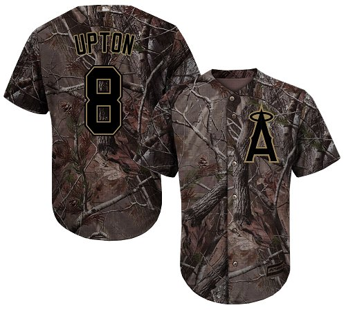 LA Angels of Anaheim #8 Justin Upton Realtree Collection Cool Base Stitched MLB Camo Jersey
