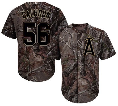 LA Angels of Anaheim #56 Kole Calhoun Realtree Collection Cool Base Stitched MLB Camo Jersey