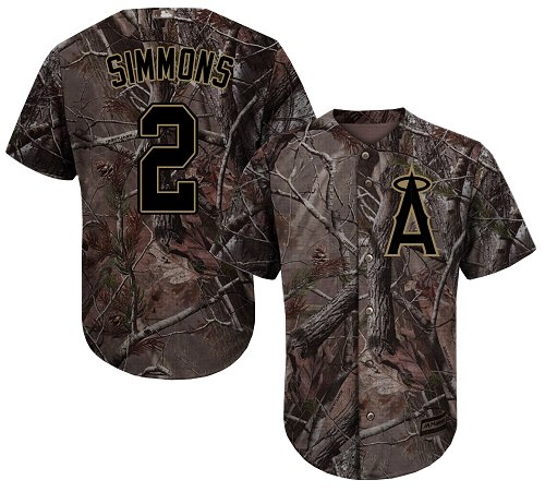 LA Angels of Anaheim #2 Andrelton Simmons Realtree Collection Cool Base Stitched MLB Camo Jersey