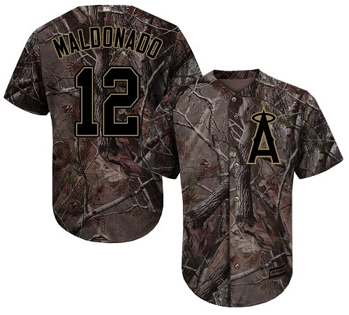 LA Angels of Anaheim #12 Martin Maldonado Realtree Collection Cool Base Stitched MLB Camo Jersey