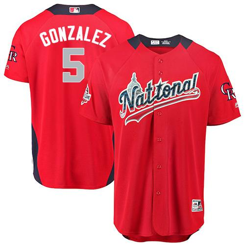 Rockies #5 Carlos Gonzalez 2018 All-Star National League Stitched Baseball Red Jersey
