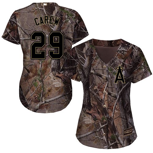 Angels #29 Rod Carew Realtree Collection Cool Base Women's Stitched Baseball Camo Jersey