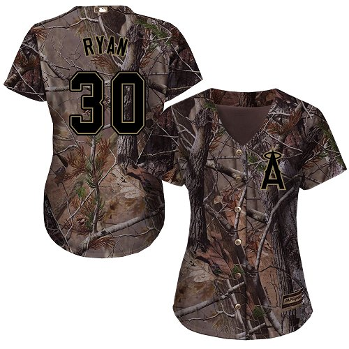 Angels #30 Nolan Ryan Realtree Collection Cool Base Women's Stitched Baseball Camo Jersey
