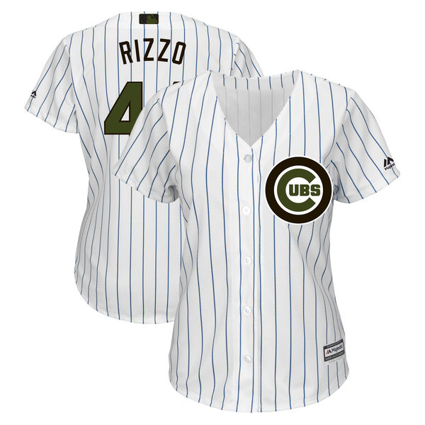 Chicago Cubs #44 Anthony Rizzo Women 2018 Memorial Day Cool Base White Jersey