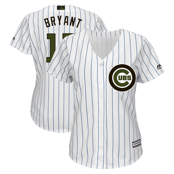 Chicago Cubs #17 Kris Bryant Women 2018 Memorial Day Cool Base White Jersey