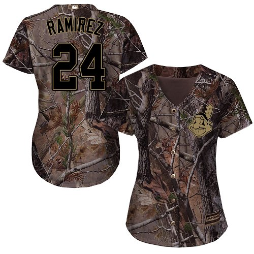 Cleveland Indians #24 Manny Ramirez Realtree Collection Cool Base Women's Stitched Baseball Camo Jersey