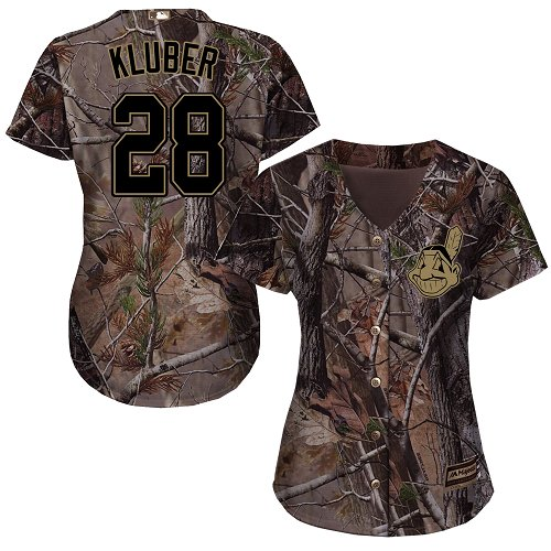 Cleveland Indians #28 Corey Kluber Realtree Collection Cool Base Women's Stitched Baseball Camo Jersey