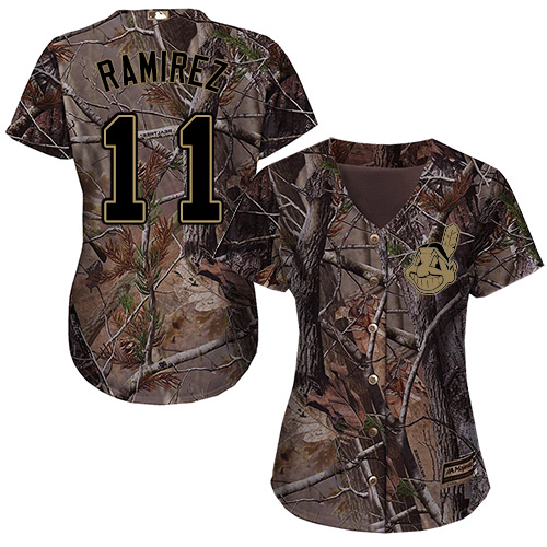 Cleveland Indians #11 Jose Ramirez Realtree Collection Cool Base Women's Stitched Baseball Camo Jersey