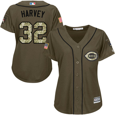 Cincinnati Reds #32 Matt Harvey Salute to Service Women's Stitched Baseball Green Jersey