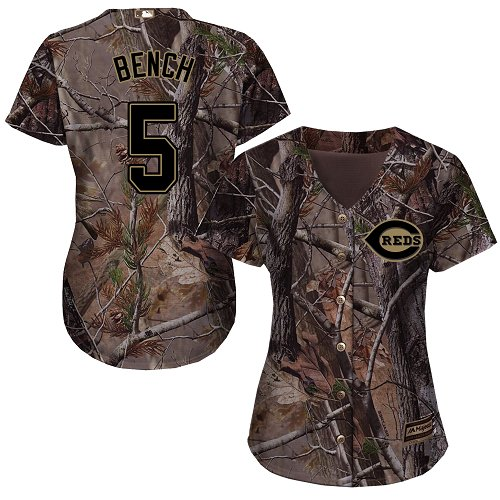 Cincinnati Reds #5 Johnny Bench Realtree Collection Cool Base Women's Stitched Baseball Camo Jersey
