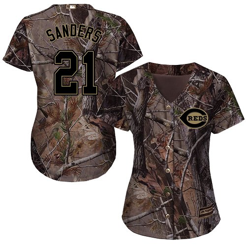 Cincinnati Reds #21 Reggie Sanders Realtree Collection Cool Base Women's Stitched Baseball Camo Jersey