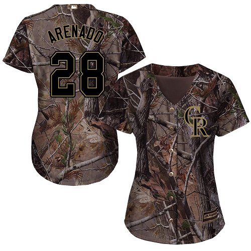 Colorado Rockies #28 Nolan Arenado Realtree Collection Cool Base Women's Stitched Baseball Camo Jersey