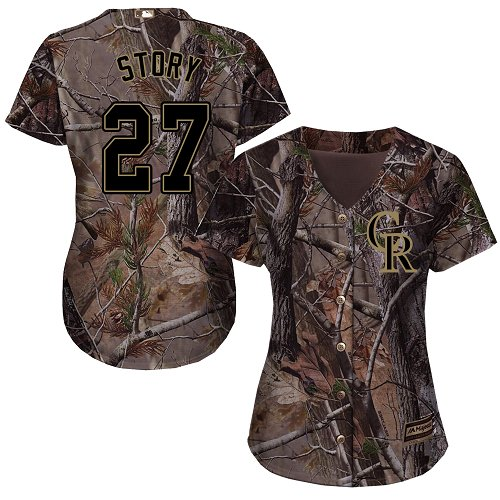 Colorado Rockies #27 Trevor Story Realtree Collection Cool Base Women's Stitched Baseball Camo Jersey