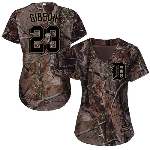 Detroit Tigers #23 Kirk Gibson Realtree Collection Cool Base Women's Stitched Baseball Camo Jersey