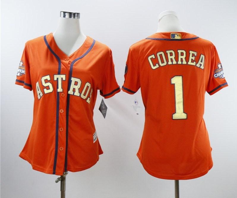 Houston Astros #1 Carlos Correa Women 2018 Gold Program Cool Base Orange Jersey