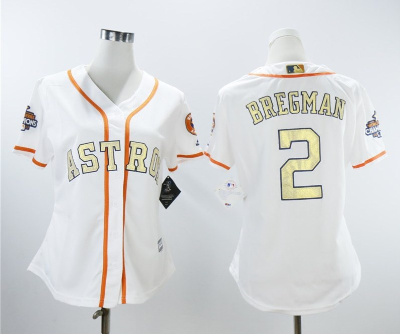 Houston Astros #2 Alex Bregman Women 2018 Gold Program Cool Base White Jersey