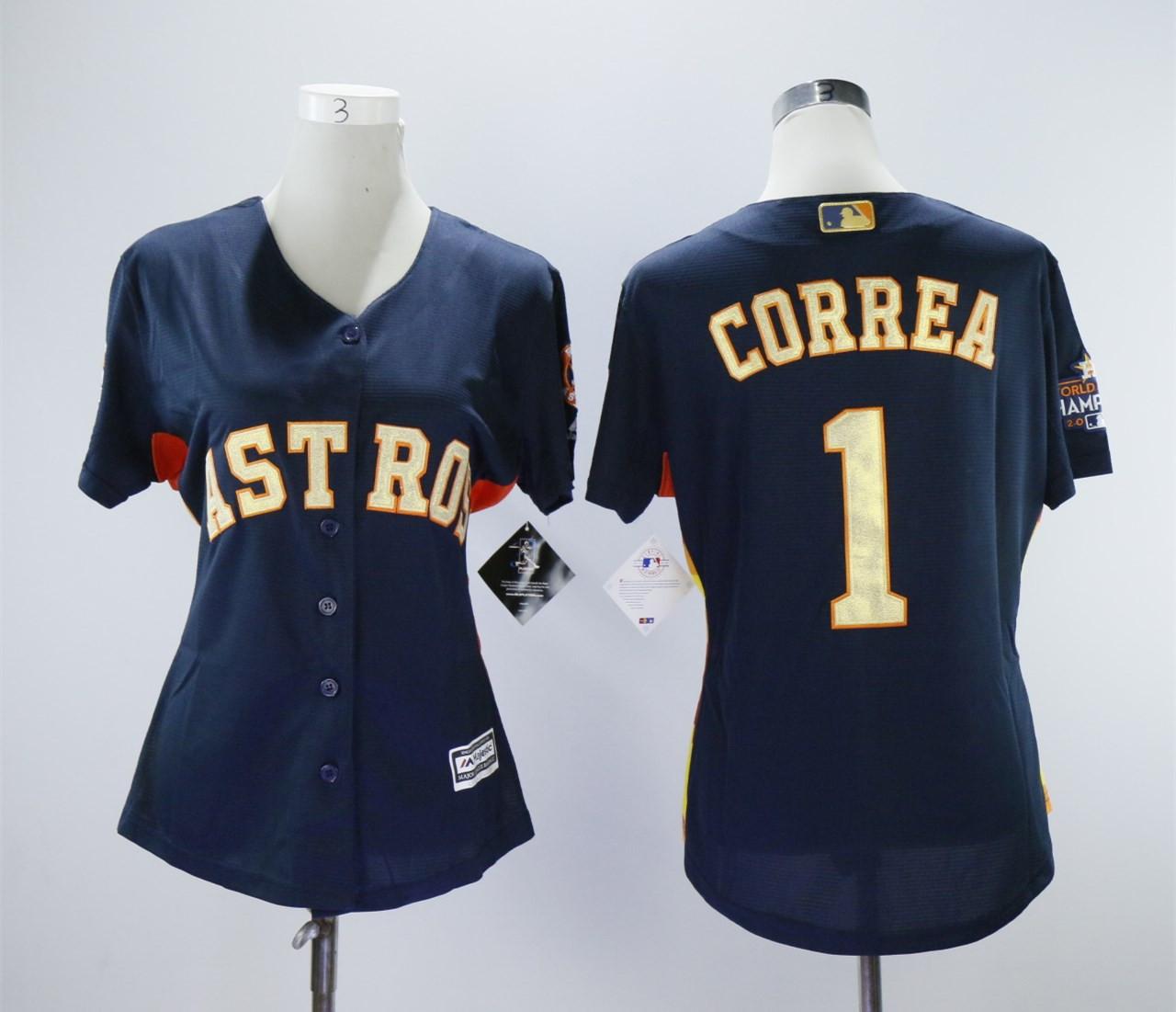Houston Astros #1 Carlos Correa 2018 Gold Program Women Cool Base Navy Jersey
