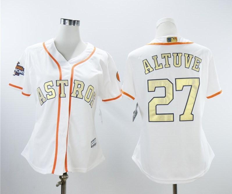 Houston Astros #27 Jose Altuve Women 2018 Gold Program Cool Base White Jersey