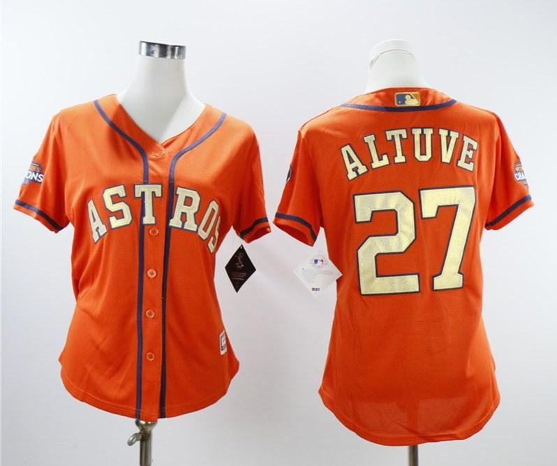 Houston Astros #27 Jose Altuve Women 2018 Gold Program Cool Base Orange Jersey