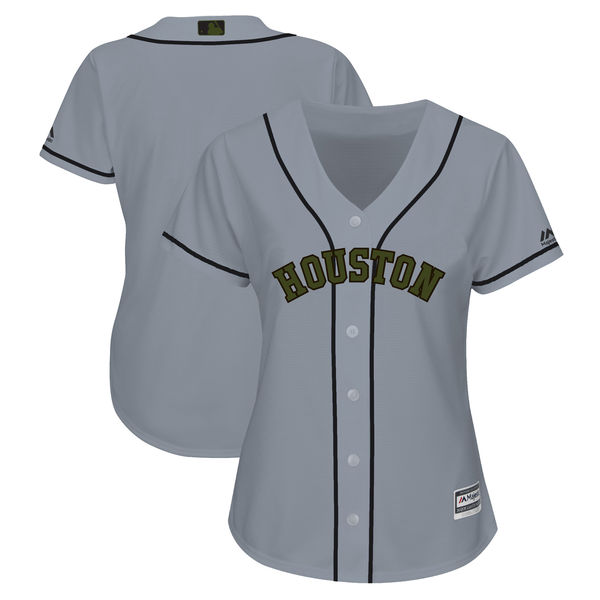 Houston Astros Blank Women 2018 Memorial Day Cool Base Gray Jersey