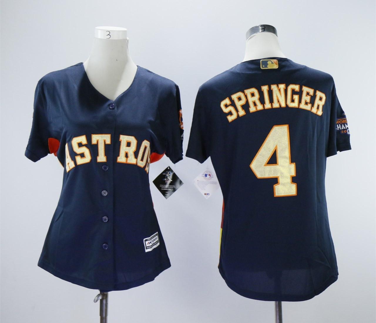 Houston Astros #4 George Springer Women 2018 Gold Program Cool Base Navy Jersey