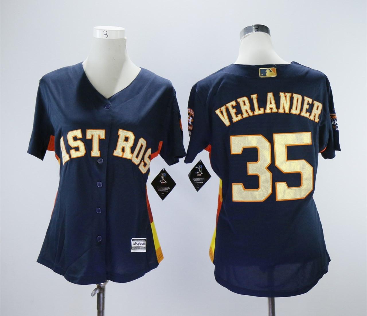 Houston Astros #35 Justin Verlander Women 2018 Gold Program Cool Base Navy Jersey
