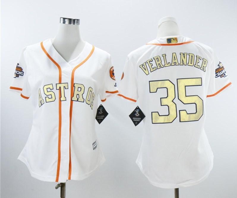Houston Astros #35 Justin Verlander Women 2018 Gold Program Cool Base White Jersey