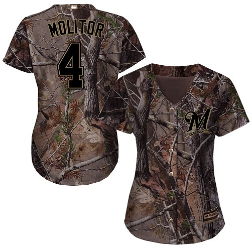 Milwaukee Brewers #4 Paul Molitor Realtree Collection Cool Base Women's Stitched Baseball Camo Jersey