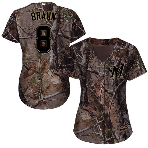 Milwaukee Brewers #8 Ryan Braun Realtree Collection Cool Base Women's Stitched Baseball Camo Jersey