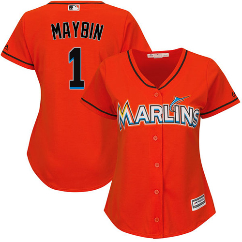 Miami Marlins #1 Cameron Maybin Alternate Women's Stitched Baseball Orange Jersey