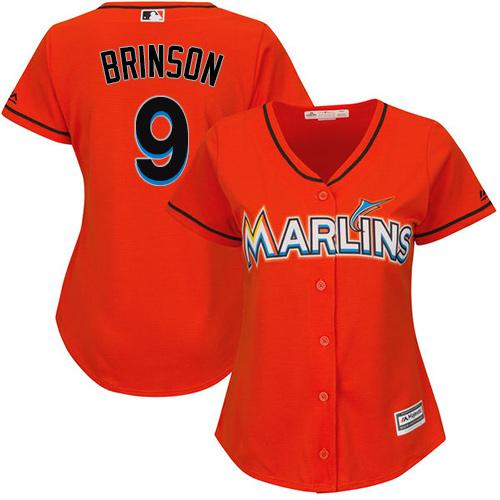 Miami Marlins #9 Lewis Brinson Alternate Women's Stitched Baseball Orange Jersey