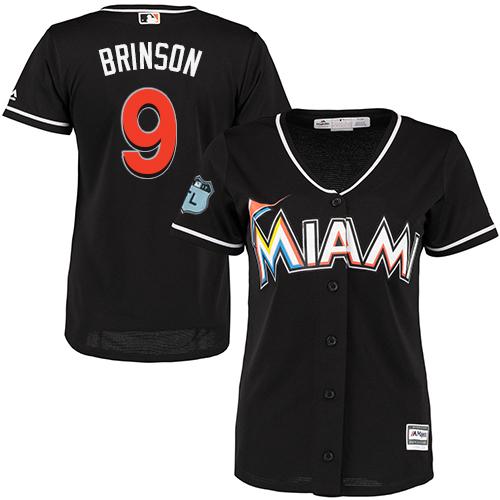 Miami Marlins #9 Lewis Brinson Alternate Women's Stitched Baseball Black Jersey