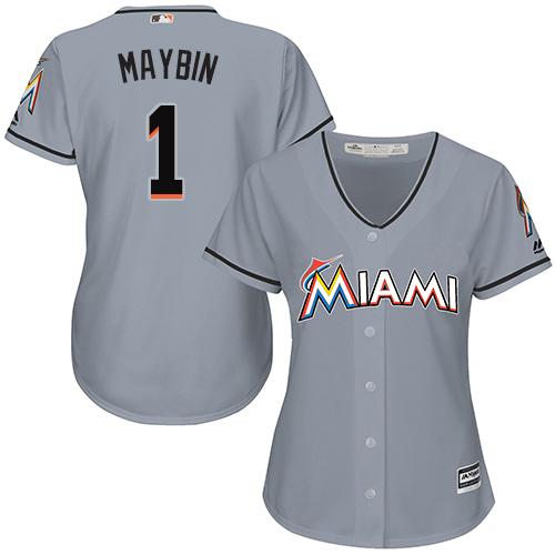 Miami Marlins #1 Cameron Maybin Road Women's Stitched Baseball Grey Jersey