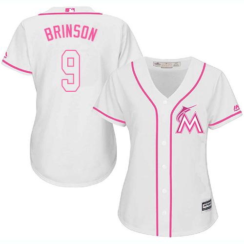 Miami Marlins #9 Lewis Brinson White Fashion Women's Stitched Baseball Pink Jersey