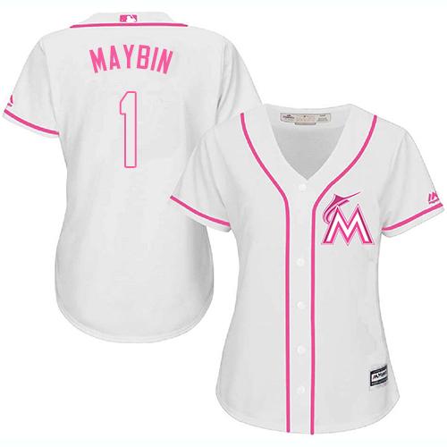 Miami Marlins #1 Cameron Maybin White Fashion Women's Stitched Baseball Pink Jersey