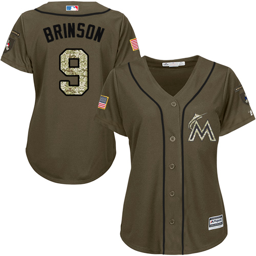 Miami Marlins #9 Lewis Brinson Salute to Service Women's Stitched Baseball Green Jersey