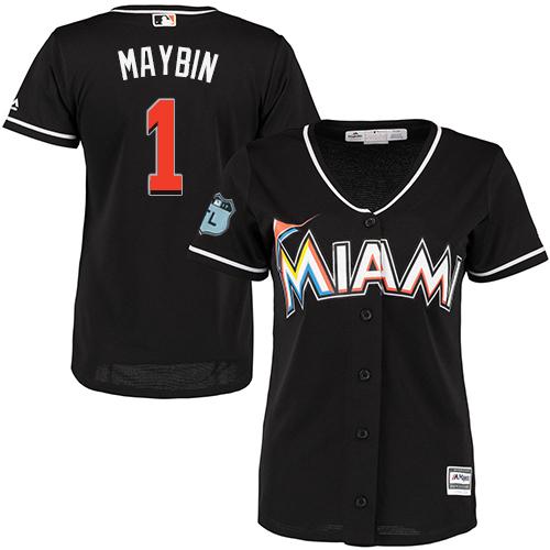 Miami Marlins #1 Cameron Maybin Alternate Women's Stitched Baseball Black Jersey
