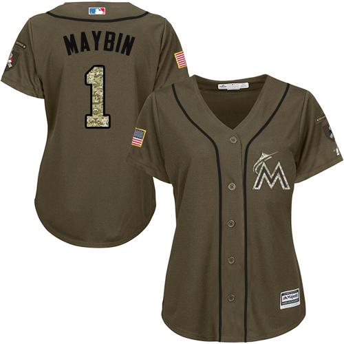 Miami Marlins #1 Cameron Maybin Salute to Service Women's Stitched Baseball Green Jersey