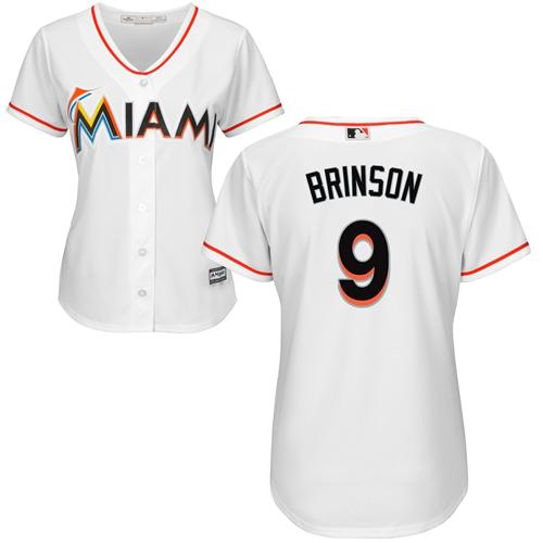 Miami Marlins #9 Lewis Brinson Home Women's Stitched Baseball White Jersey
