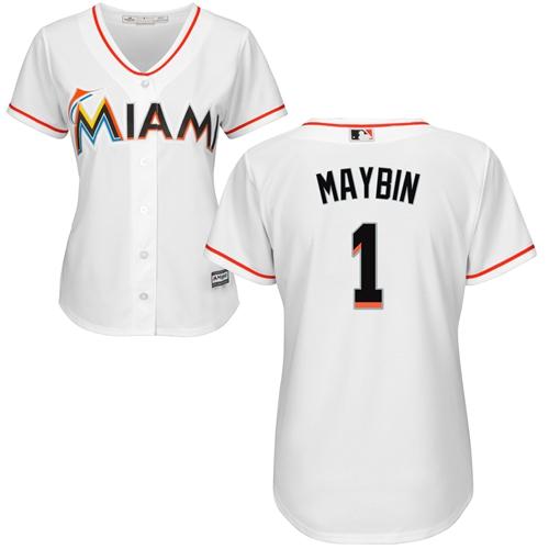 Miami Marlins #1 Cameron Maybin Home Women's Stitched Baseball White Jersey