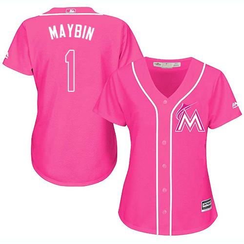 Miami Marlins #1 Cameron Maybin Fashion Women's Stitched Baseball Pink Jersey