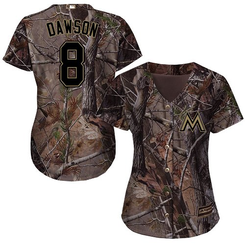 Miami Marlins #8 Andre Dawson Realtree Collection Cool Base Women's Stitched Baseball Camo Jersey