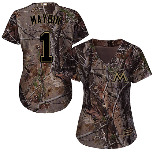 Miami Marlins #1 Cameron Maybin Realtree Collection Cool Base Women's Stitched Baseball Camo Jersey