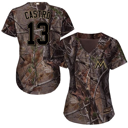 Miami Marlins #13 Starlin Castro Realtree Collection Cool Base Women's Stitched Baseball Camo Jersey